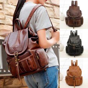 Women-Men-Leather-Vintage-Backpack-Shoulder-Bag-School-Travel-Handbag-Satchel-TR