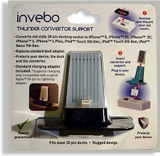 Invebo Lightning to 30 Pin Adaptor and Cradle Support Fits 30pin Rurak Docks