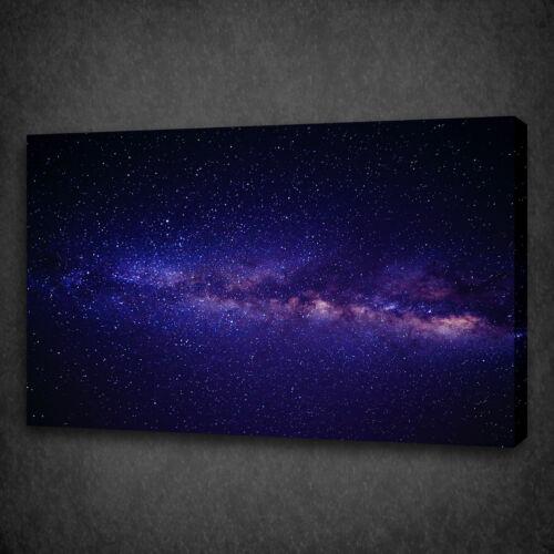 BEAUTIFUL GALAXY STARS PURPLE BLUE MOUNTED CANVAS PRINT WALL ART PICTURE PHOTO