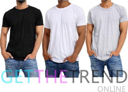 3x Mens Plain Tshirt Men/'s Multipack Black White Grey Crew Neck Basic Tee Shirts