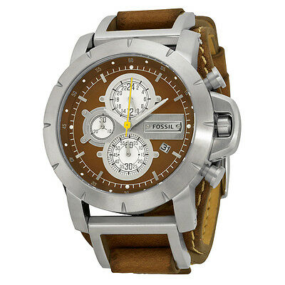 Fossil Chronograph Brown Leather Strap Mens Watch JR1157