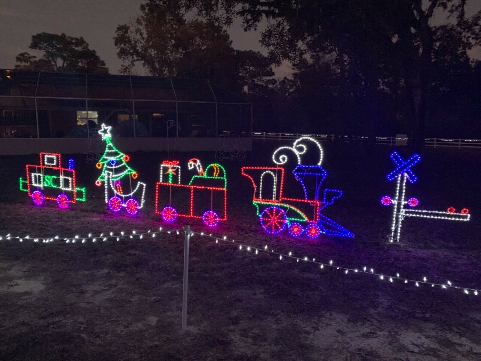 Large Christmas Train Outdoor Lighted Decoration Christmas Holiday Steel For Sale Online