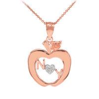 Rose Gold York Big Apple Diamond Pendant Necklace
