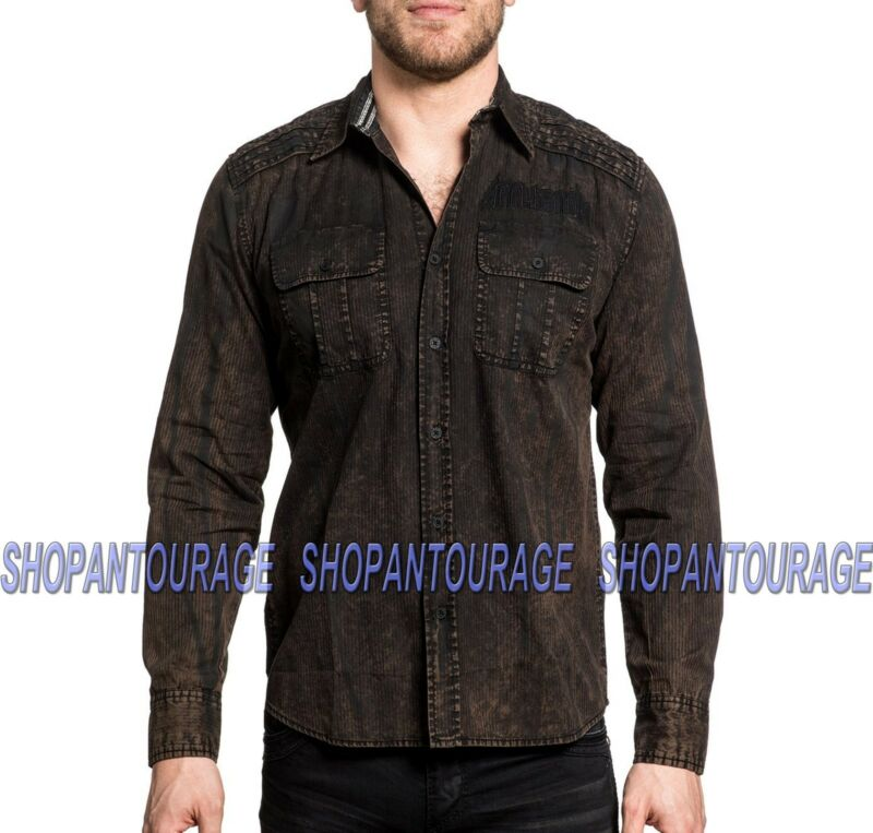 Affliction Replica 110wv716 Men`s Long Sleeve Embroidered Button-down Shirt