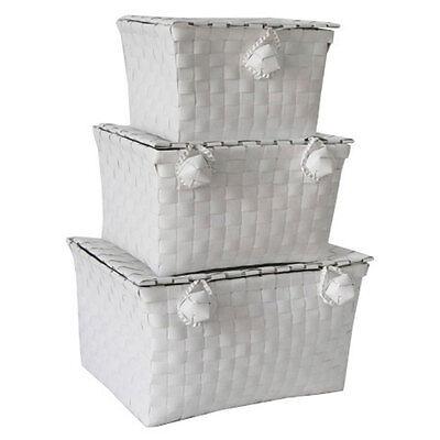 Storage Hampers Strip Ball Locker Set Of 3 White Woven Baskets Bin Boxes New