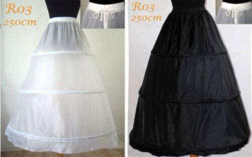 r3 Ringe 3 Reifen Reifrock Petticoat Unterrock Weiß Schwarz Tüllrock 250cm R03