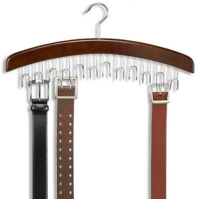 12 Hardwood Belt/Tie Hanger With Chrome Hooks Wood Wooden Closet Accessory