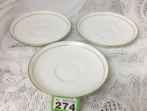 Set-Of-3-ROYAL-WORCESTER-039-VICEROY-039-GOLD-On-White-6-5-034-Saucer-For-Teacups