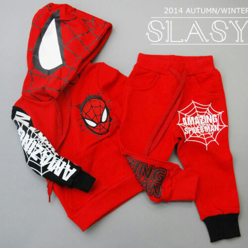 2PCS Toddler Kids Baby Boys Spiderman hooded coat+Pants Set Kids Clothes set
