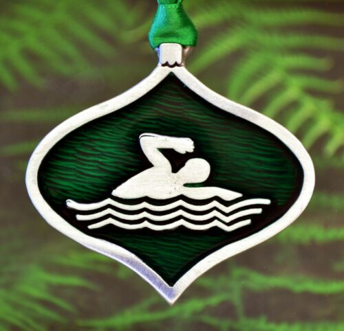 Swimmer Christmas OrnamentSwimming Christmas Decorations in Fine Pewter