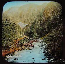 Glass Magic Lantern Slide PASS OF ABERGLASLYN FROM THE BRIDGE C1890 WALES