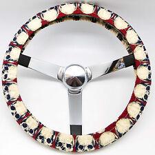 Handmade Steering Wheel Cover Red Skulls