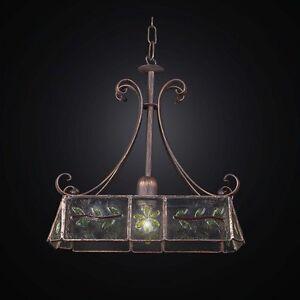 Lampadari In Ferro Battuto E Vetro.Lampadario In Ferro Battuto E Vetro Tiffany A 1 Luce Coll Bga