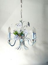 Vintage Chandelier Italian Tole Daisy Shabby White Pink 1960's