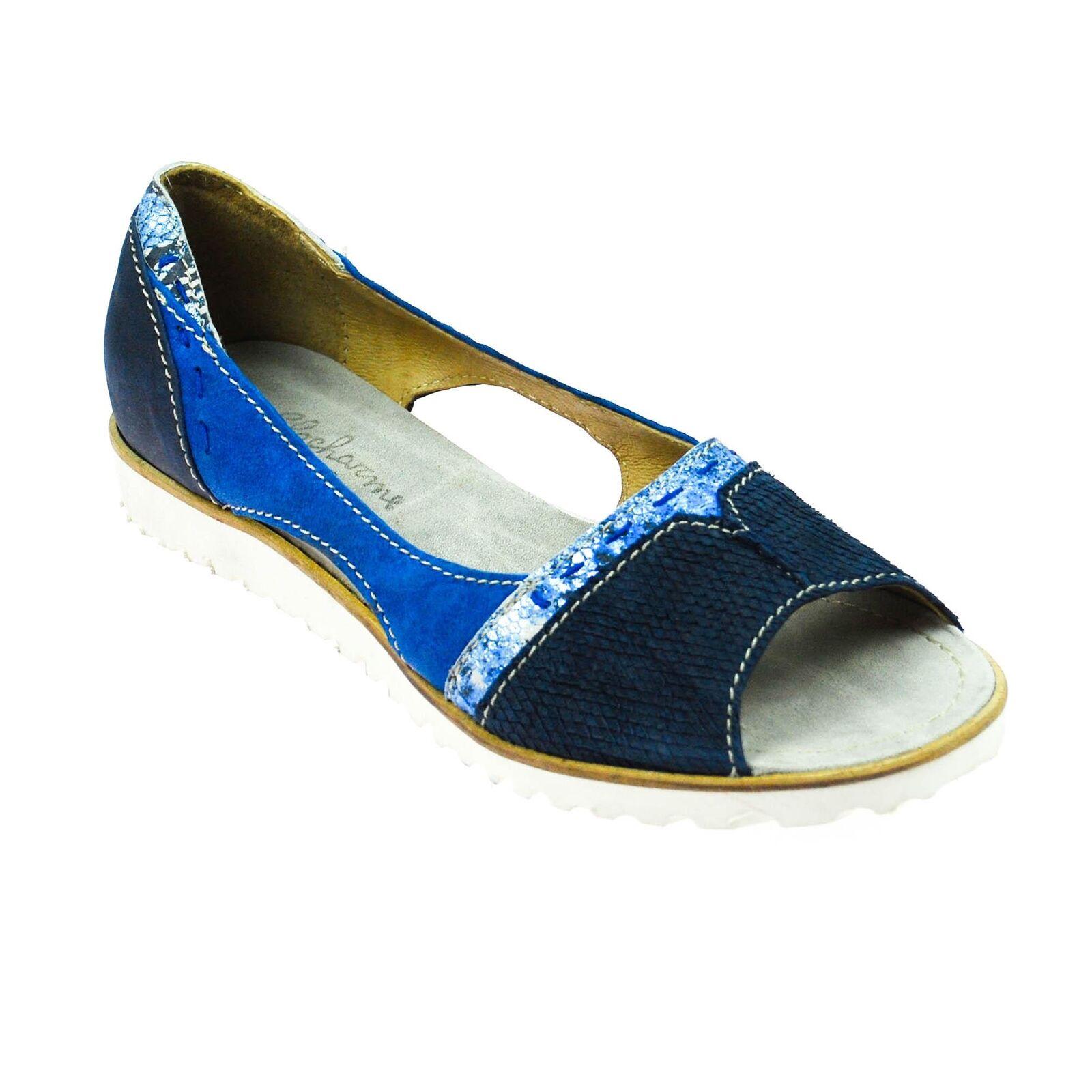 Encanto señora sandalia semi abierta de zapatos de cuero azul azul oscuro plata multicolor