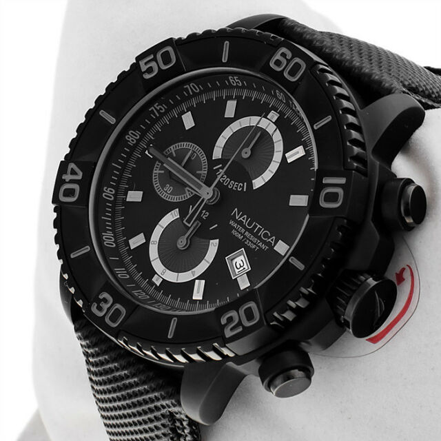 Nautica Men's Stealth Black Watch Chronograph Tachymeter Date Dial Leather Strap