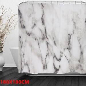 Plain-Shower-Curtain-Marble-Pattern-Fabric-Set-180-180cm-Mildew-Splash-Resistant