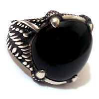 Mens Black Onyx Ring Sz 10.5 Us .925 Sterling Silver