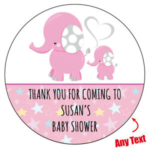 Details Zu 48 X Personalised Baby Shower Mommy Elephant Stickers Labels Party Bag 246