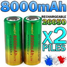 2 PILES ACCU RECHARGEABLE BATTERIE GTF 26650 8000mAh 3.7V Li-ion PUISSANT