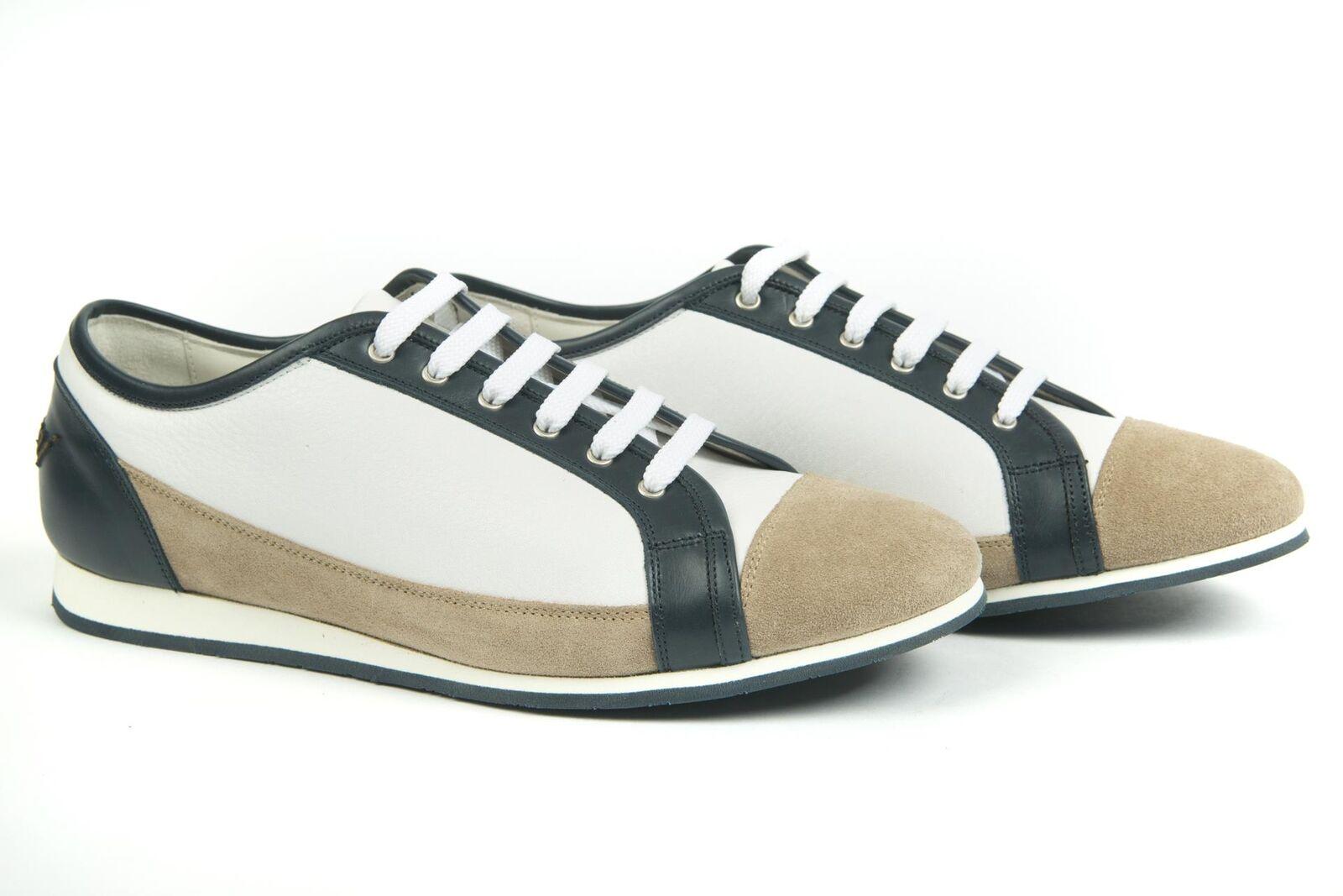 Brioni  825 NIB White Navy bluee Leather Suede Fashion Sneakers shoes 42 EU 9 US