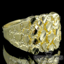 REAL 100% 10K YELLOW GOLD NEW DESIGNER MEN'S NUGGET PINKY RING BAND SZ 9 2.3G