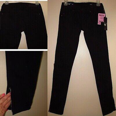 $187 William Rast Skinny Zip Gamba Stretch Twill Morbido Jeans Onice Nero 24 26 Prezzo Di Vendita Diretto In Fabbrica