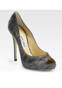 jimmy-choo-quiet-lizard-embossed-patent-Peeptoe-anthracite-heels-pumps-box-sz-40