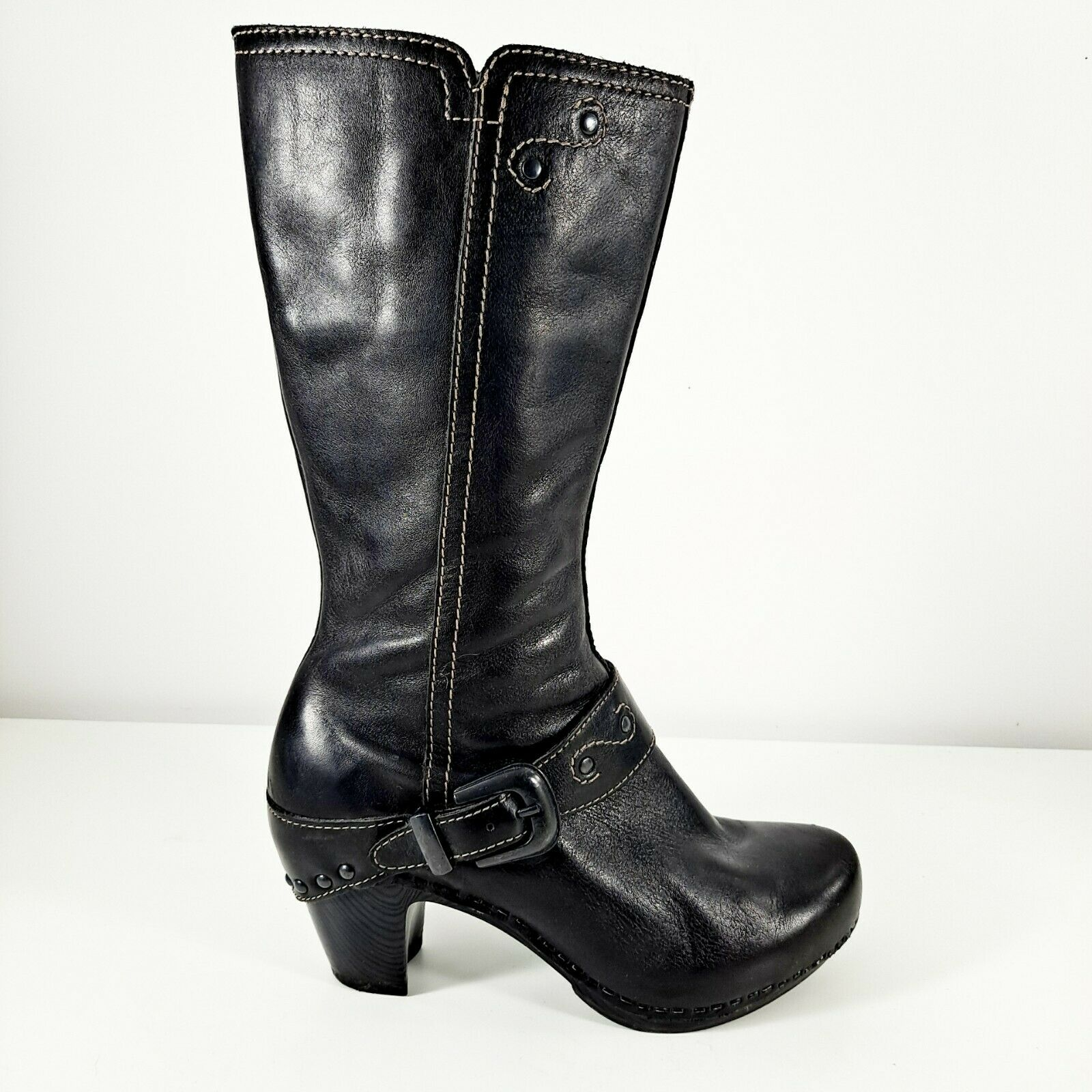 Dansko Womens Boots Sz 36 EU 6 US Black Leather Mid Calf Block Heels