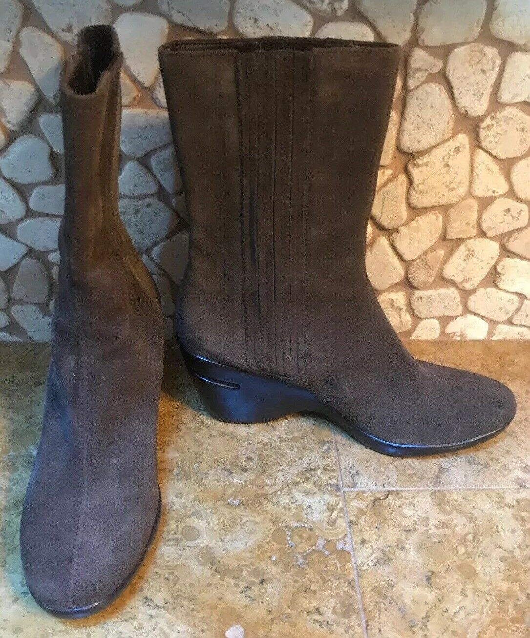 Women's Cole Haan Air Mid Calf Boots shoes Size 5.5 Brown Suede Wedge Stretch