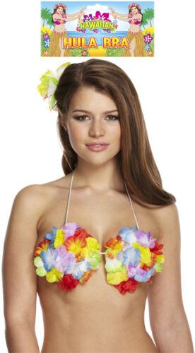 Lei Flower Bra Hawaiian Hula Girl Tropical Beach Pool Party Ladies Fancy Dress