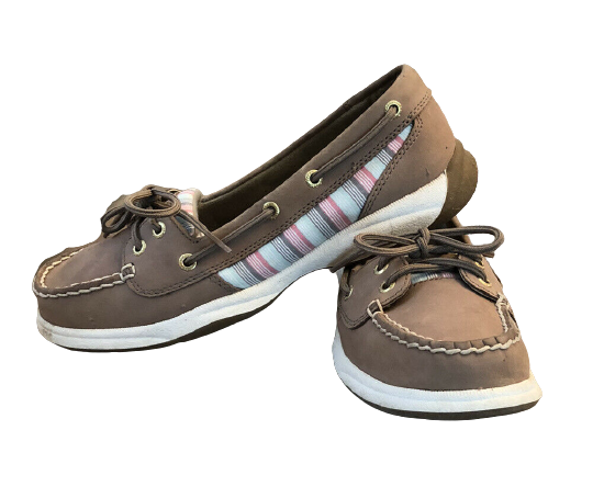 SPERRY TOPSIDER 2 HOLE MULTICOLOR STRIPE BROWN LEATHER BOAT SHOE 7.5