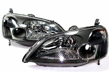 01-03 Honda Civic ES EM 2 Door JDM Black Headlights w/ Chrome Reflector