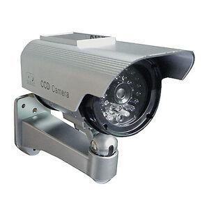 Factice-Faux-Camera-Surveillance-de-Securite-a-Energie-Solaire-a-LED-Imitation