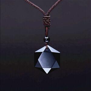 Men women star of davidhexagon obsidian pendant necklace fashion image is loading men women star of david hexagon obsidian pendant aloadofball Image collections