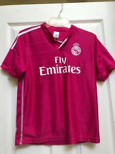 check out fab08 f7b2f Details about REAL * MADRID Ronaldo #7 Soccer Jersey Girls- Youth Large  Pink Fly Emirates