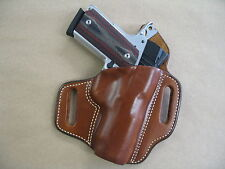 Colt 1991 Compact 1911 OWB Leather 2 Slot Molded Pancake Belt Holster CCW TAN RH