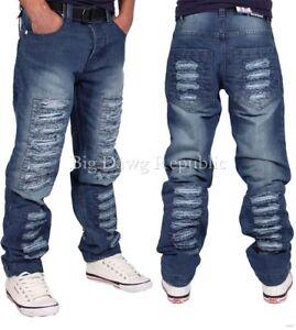 Peviani-Da-Uomo-Blu-Strappato-Sfilacciato-Dritto-Fit-Denim-Jeans-tempo-e-denaro-Hip-Hop-K