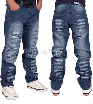 Money Time Is Men/'s Designer Jeans Denim King Club Blue Biker Ripped Frayed