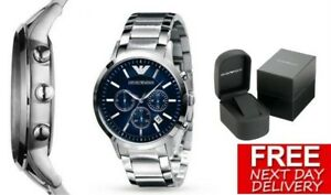 NEW-EMPORIO-ARMANI-AR2448-STAINLESS-STEEL-BLUE-CHRONOGRPAH-MEN-039-S-WATCH