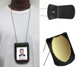 Mens-Genuine-Leather-Clip-On-Neck-Chain-Officer-Badge-Security-Weapon-ID-Holder