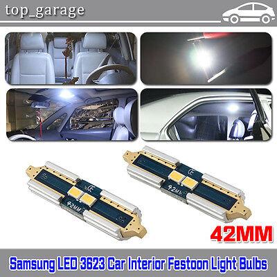 2x White 42MM 2SMD Samsung 3623 Festoon Car LED Dome Map Interior Light Bulb 578