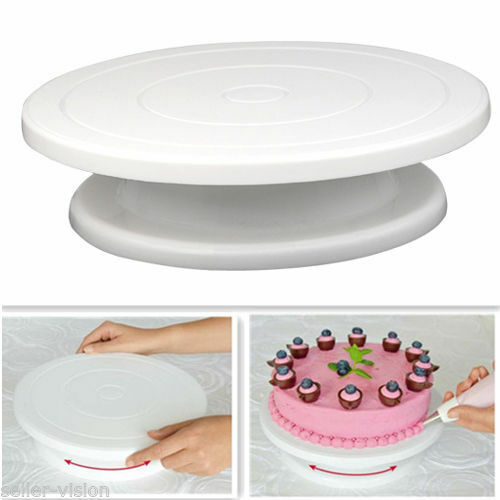 28cm Kitchen Cake Decorating Icing Rotating Turntable Cake Stand White Party Hot