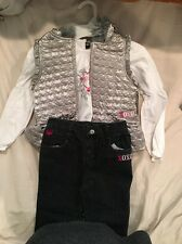 New Xoxo Girls Outfit, 3 Piece Set, Jeans, White Shirt, Silver Vest, Size 4