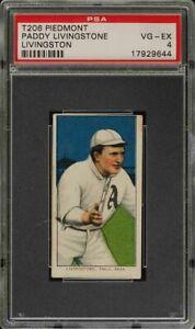 1909-11 T206 Paddy Livingstone Piedmont 350 Philadelphia PSA 4 VG - EX
