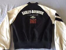 Harley Davidson Black Cream Bomber Varsity V Twin Embroidered Jacket Small Rare