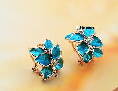 18K Rose Gold GP Austrian Crystal Blue Flower Fashion Jewelry Ear Earrings BR641