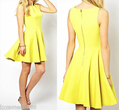 Celebrity Party Casual Back Metal Zip Above Knee Flared Skater Dress S - 2XL