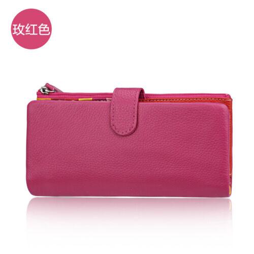 RFID Womens Genuine Leather Long Bifold Wallet Money Card Holder Clutch Purse QU