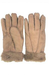 Women-039-s-Genuine-Sheepskin-Camel-Warm-Leather-Shearling-Suede-Fur-Gloves